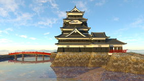 Japanese castle. 3D CG rendering of a Japanese castle Royalty Free Stock Image