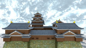 Japanese castle. 3D CG rendering of the Japanese castle Royalty Free Stock Photo