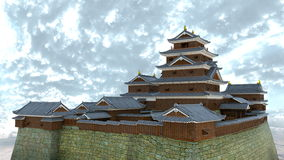 Japanese castle. 3D CG rendering of the Japanese castle Royalty Free Stock Photos