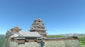 Japanese castle. 3D CG rendering of the Japanese castle Royalty Free Stock Images