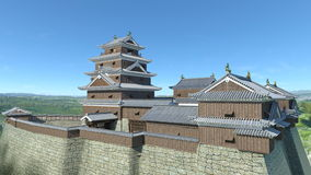 Japanese castle. 3D CG rendering of the Japanese castle Stock Photos