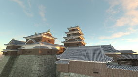 Japanese castle. 3D CG rendering of the Japanese castle Stock Images
