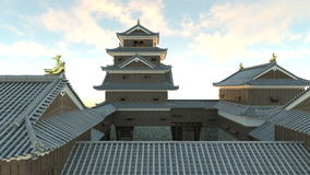 Japanese castle. 3D CG rendering of the Japanese castle Stock Image