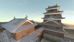 Japanese castle. 3D CG rendering of the Japanese castle Stock Photo