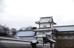 Japanese castle. Kanazawa city, the Japanese style old castle with white walls and gray roof Royalty Free Stock Photo