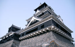 Japanese castle in Kumamoto. Japanese huge black castle shot at spring Stock Photo