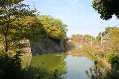 Japanese Castle Moat. Castle Moat surrounding the remains and ruins of Kyoyama Castle, Japan Stock Photography