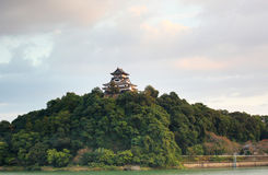 Japanese castle on a mountain Stock Photo