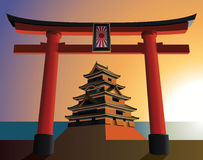 Japanese castle on the rising sun Stock Image