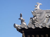 Japanese Castle Roof Detail. Detail of Fish Adornment of Japanese Castle at Osaka Stock Image
