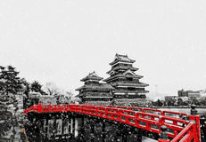 Japanese castle and snowfall Stock Photography