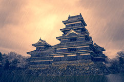 Japanese Castle Stormy Background Royalty Free Stock Photography