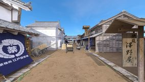 Japanese castle town. 3D CG rendering of the Japanese castle town Stock Image