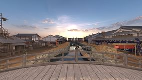 Japanese castle town. 3D CG rendering of the Japanese castle town Stock Photos