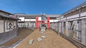 Japanese castle town. 3D CG rendering of the Japanese castle town Stock Images