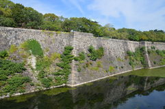 Japanese Castle Wall. At Osaka Japan royalty free stock photo