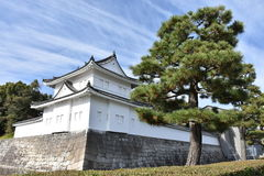Japanese castle wall under blue sky royalty free stock photos
