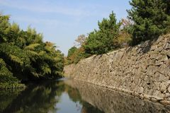Japanese Castle Walls. The remaining outer wall and moat around Kyoyama Castle, Nara, Japan Stock Images