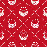 Japanese cat pattern. Red and white vector seamless pattern. Wrapping paper design Stock Images