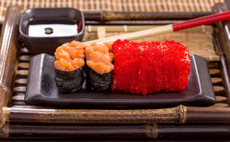 Japanese caviar rolls Royalty Free Stock Images