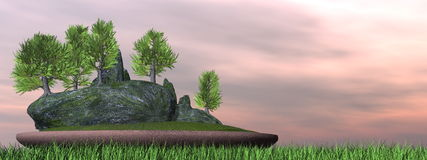 Japanese cedar tree bonsai - 3D render Royalty Free Stock Images