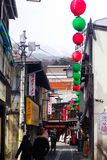A japanese celebration in a street. A japanese celebration outside the city from tokyo royalty free stock photography