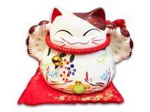 Lucky Cat. Japanese ceramic cartoon lucky cat royalty free stock images