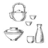 Japanese ceramic tableware sketch icons Stock Photos
