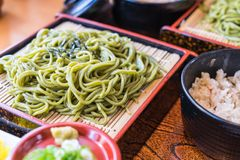 Japanese Cha Soba (Green tea Soba) in dish. Selective focus point royalty free stock photography