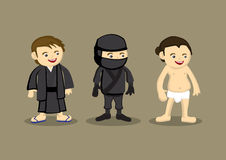Japanese Characters in Different Costumes. Vector illustration of cartoon Japanese characters, ninja in black garb, semi-naked sumo wearing white loincloth and Royalty Free Stock Images