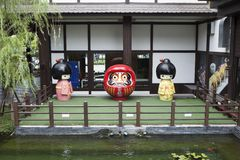 Japanese characters/dolls being displayed at a garden Royalty Free Stock Photo