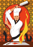 Japanese chef cooking Stock Image