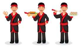 Japanese chef cooking sushi rolls royalty free illustration
