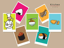Japanese chef menu cartoon picture. Japanese chef and menu cartoon picture Royalty Free Stock Images