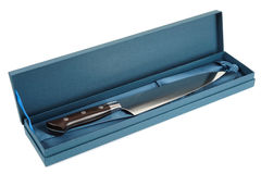 Japanese chef's knife in gift box, isolated Royalty Free Stock Photo