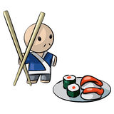 Japanese Chef Serving Sushi with Giant Chopsticks Stock Photos