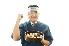 The Japanese chef who poses happily Stock Image