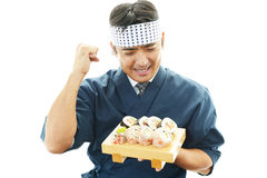 The Japanese chef who poses happily Royalty Free Stock Photo