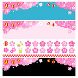 Japanese cherry blossom viewing banners. File Stock Photos