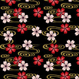 Japanese cherry blossoms and stream pattern Royalty Free Stock Photo
