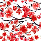 Japanese cherry branch spring blossom, red sakura tree seamless watercolor pattern. Vector illustration, ready for print Royalty Free Stock Images