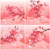 Japanese cherry tree. To the background of the mountain vector illustration