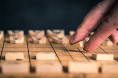 Japanese chess and hands Stock Photos