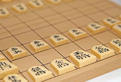 Japanese Chess Set (Shogi). With pieces laid in initial setup Royalty Free Stock Photo