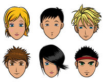 Japanese Chibi boys and girls Royalty Free Stock Photos