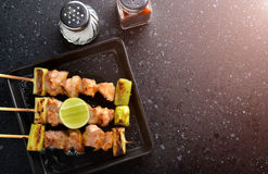 Japanese chicken grill  Yakitori. Japanese chicken grill  Yakitori set with ingredient in dark tone low lighting and dark shadow concept and space for text Royalty Free Stock Images