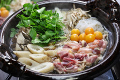 Japanese chicken hot pot cuisine Stock Photo