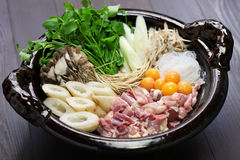 Japanese chicken hot pot cuisine Royalty Free Stock Photo