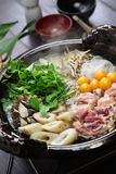 Japanese chicken hot pot cuisine Royalty Free Stock Images