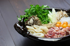 Japanese chicken hot pot cuisine Royalty Free Stock Photos